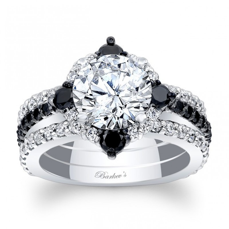 Barkev S Designer Halo Diamond Bridal 3 Piece Set Ring In 14kt White Gold With 1 94 Ct And Black Diamonds 7967s2bkw