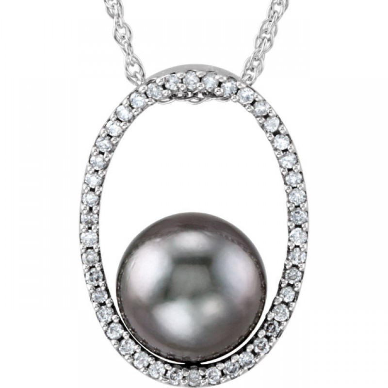 Matthew Ryan Design Tahitian Cultured Pearl & Diamond Necklace in 14KT White Gold 69055:64914