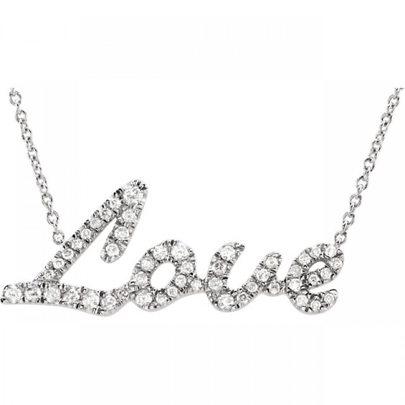 "14kt White Gold Diamond Necklace with 1/5 CTW in Diamonds with an 18"" Chain 651939"