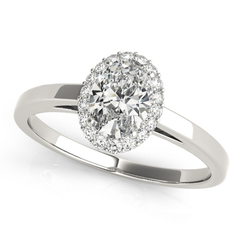 Charles and Colvard Moissanite 8x6 MM Oval Shape Halo style Diamond Engagement Ring in 14KT White Gold MR50916