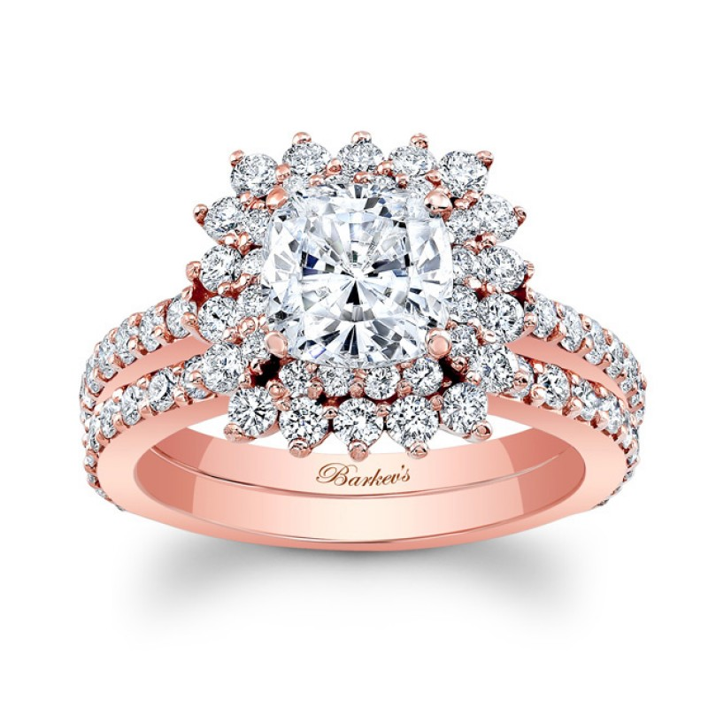 Barkev's Designer Cushion Cut Bridal Ring Set in 14KT Rose Gold with 1.50 ct of Round Cut side diamonds 8001SPW