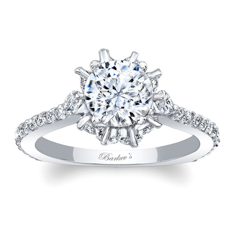 Barkev's Designer Diamond Engagement Ring in 14KT White Gold with 1.24 ct of Round and Marquise Side diamonds 8023LW