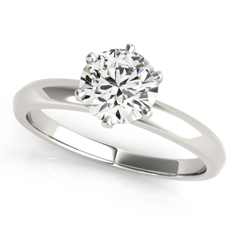 Charles and Colvard Round 6.5 MM Round Cut Forever Brilliant Moissanite Center stone Solitaire Engagement Ring in 14KT White Gold MRD 83960