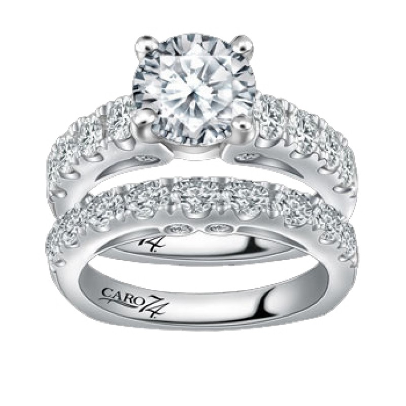 Caro74 14K White Gold Diamond Engagement Ring Setting CR158W