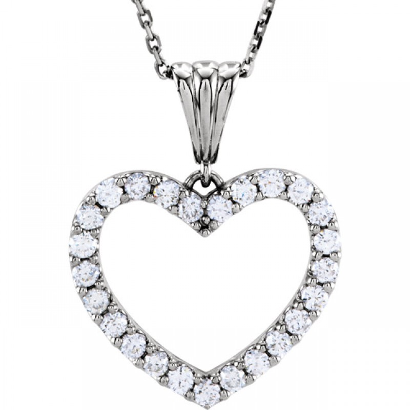 """1.00 ct tw Diamond Heart Necklace in 14kt White Gold with an 18"""" chain  67533"""