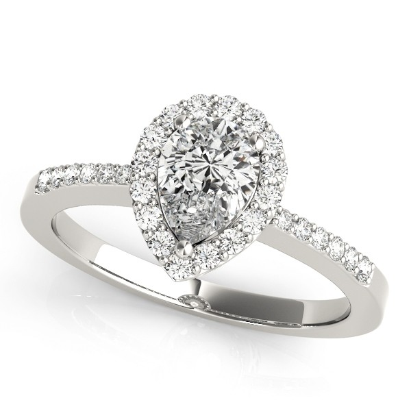 Charles and Colvard Moissanite 8x5 MM Pear Shape Halo style Diamond Engagement Ring in 14KT White Gold MR83498