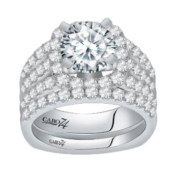 Caro74 Diamond Engagement Ring #CR115W 1.41 carat total weight