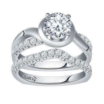 Caro74 14K White Gold Diamond Engagement Ring Setting CR145W