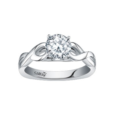 Caro74 14K White Gold Solitaire Engagement Ring Setting CR250W