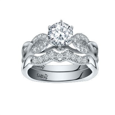 Caro74 14K White Gold Diamond Engagement Ring Setting CR256W