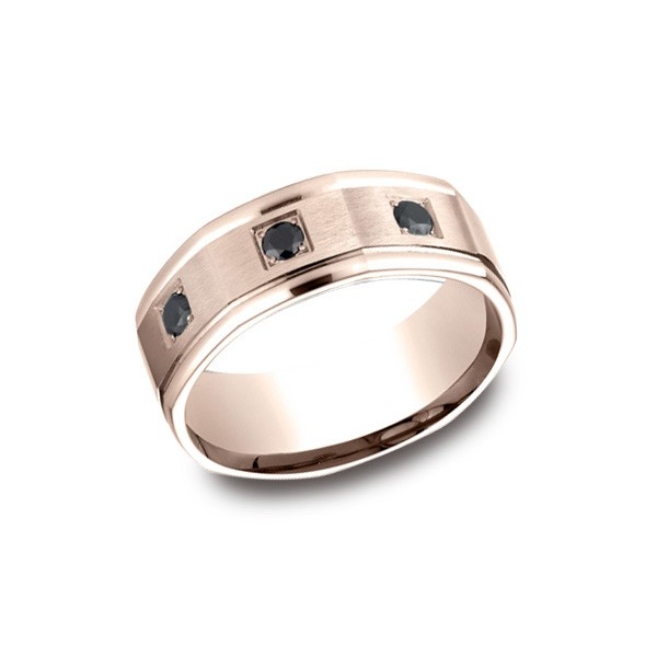 Diamonds Rose Gold 8mm Black Diamond Band