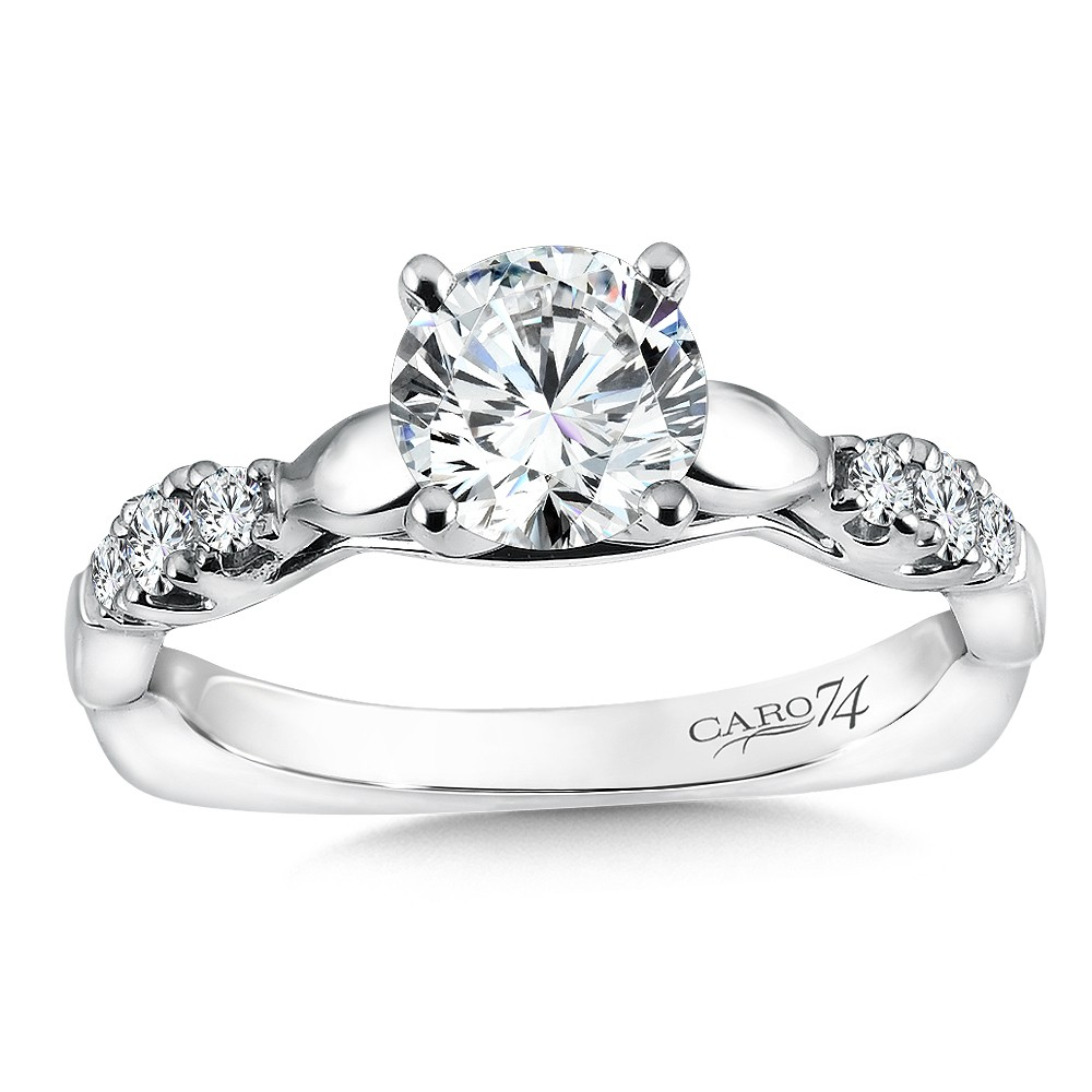 Caro74 Round Cut Designer 14K White Gold Diamond Engagement Ring CR187W
