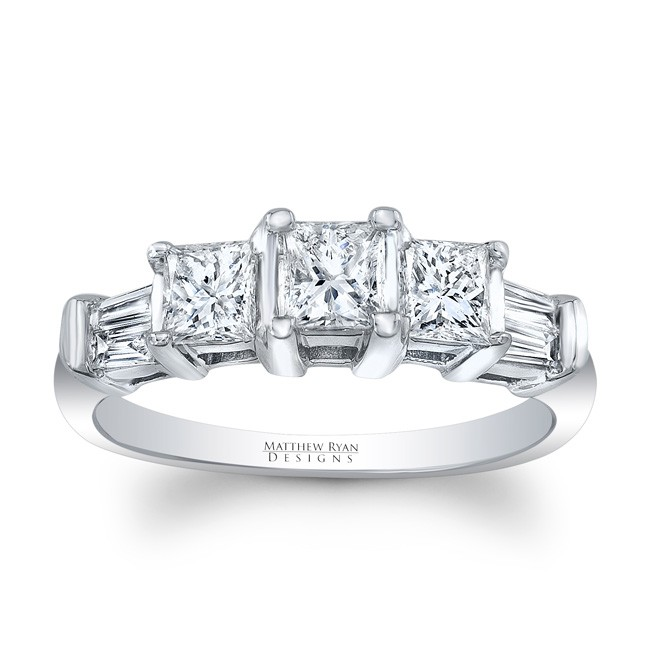 Matthew Ryan Design 14KT White Gold 3 Stone Princess Cut Diamond Engagement Ring with 1.50 ct in diamonds MRD-PC