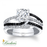 Barkev's Designer Diamond Engagement Bridal Ring Set in 14KT White Gold with 0.62 ct in Round Cut Black and White Diamonds 7677SBKW