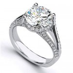 Matthew Ryan Design Diamond Engagement Ring in 14KT White Gold with 0.55 ct Round Side Diamonds MR1457