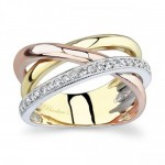 Barkev's Diamond Wedding Band in 14KT Tri Color with 0.24 carat in Diamonds 6950LTW