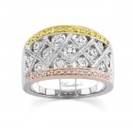 Barkev's Tri Color Diamond Band with 1.42 ct of Round Cut Diamonds 7025LTW