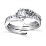 White gold diamond engagement ring set - 7493SW