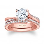 Barkev's Designer Bridal Set Ring in 14KT Rose Gold with 0.59 ct of Round cut side diamonds 7693SPW
