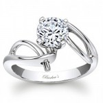 Barkev's Designer Round Cut Diamond Solitaire Engagement Ring in 14KT White Gold 7829LW