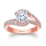 Barkev's Designer Engagement Ring in 14KT Rose Gold with 0.61 ct of Round Cut side diamonds 7848LPW