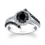 Barkev's Designer Diamond Engagement Ring in 14KT White Gold with 1.65 ct in Round Cut Black and White Diamonds BC-7857LBKW