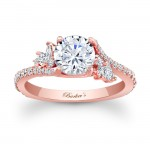 14KT Rose Gold Barkev's Diamond Engagement Ring with 0.64 ct in Round and Marquise Diamonds 7908LPW