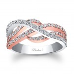 14KT Rose and White Gold Barkev's Diamond Wedding Band with 0.78 carat of Round Diamonds 7919LTW