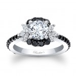 Barkev's Designer Diamond Engagement Ring in 14KT White Gold with 0.89 ct in Black and White Diamonds 7930LBKW