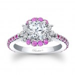 Barkev's Designer Diamond Engagement Ring in 14KT White Gold with 0.89 ct in Diamonds and Pink Sapphires 7930LPSW