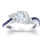 Barkev's Designer Round Cut Engagement Ring in 14KT White Gold with 0.27 ct Blue sapphires and 0.26 ct in Diamonds 7968LBSW