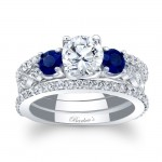 Barkev's Designer Diamond Engagement Bridal Ring Set in 14KT White Gold with 0.93 ct in RoundvDiamonds and 0.50 ct in Round Blue Sapphires 7973S2BSW