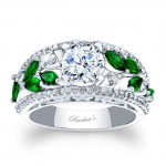 Barkev's Designer Tsavorite Engagement Ring in 14KT White Gold with Round Side diamonds 7984LTSV