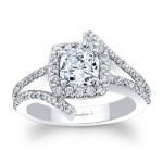 Barkev's Designer Engagement Ring in 14KT White Gold with 0.56 ct Round cut side diamonds 8005LW