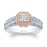 Matthew Ryan Design 14KT 2 Toned Gold Halo Diamond Engagement Ring with 0.40 ct in side diamonds MRDG-264