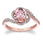 Barkev's Designer Round Morganite Engagement Ring in 14KT Rose Gold with 0.41 ct of Round Side diamonds MOC-7982LP