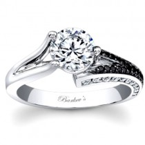 14KT White Gold Barkev's Diamond Engagement Ring with 0.38 ct of Round Cut Black and White Diamonds 7873LBKW