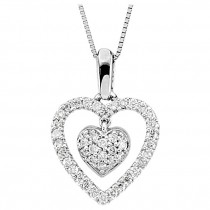 Diamond Heart Necklace in 14KT White Gold with 1/4 carat totalweight in diamonds 67020:101