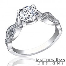 Matthew Ryan Design Diamond Engagement Ring with 0.50 ct in Round Cut Side Diamonds MRD0101