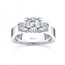 Barkev's 14KT White Gold 3 Stone Enagagement Ring with 0.50 ct of Round side diamonds 4507LW