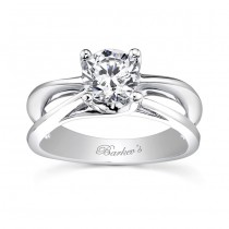 Barkev's Solitaire Round Cut Engagement Ring Setting in 14KT White Gold 7503LW