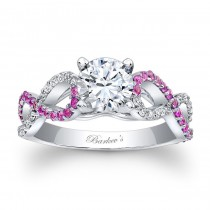 Barkev's Designer Round Cut Diamond Engagement Ring in 14KT White Gold with 0.23 ct in side Diamonds and 0.27 ct in Pink Sapphires 7714LPSW