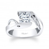 Barkev's Designer Princess Cut Solitaire Diamond Engagement Ring in 14KT White Gold 7831LW