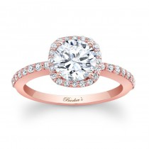Barkev's Designer Round Cut Diamond Halo Engagement Ring in 14KT Rose Gold with 0.32 ct in Round White Diamonds 7838LPW