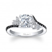 14KT White Gold Barkev's Diamond Engagement Ring with 0.63 ct in Round and Marquise White and Black Diamonds 7908LBKW