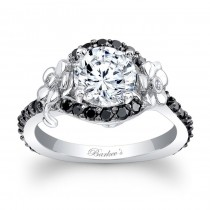 Barkev's Designer Round Cut Flower Engagement Ring with Black Diamonds with 0.53 ct in side diamonds 7936LBKW