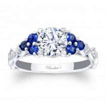 Barkev's Designer Round Cut Engagement Ring in 14KT White Gold with 0.30 ct Blue sapphires and 0.21 ct in Diamonds 7975LBSW