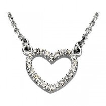 1/8 ct tw Diamond Heart Necklace in 14KT White Gold GL66415