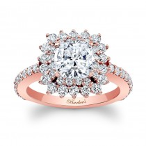 Barkev's Designer Cushion Cut Engagement Ring in 14KT Rose Gold with 1.05 ct of Round Cut side diamonds 8001LPW