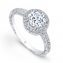 Beverly Kay Designer Diamond Encrusted Halo Style Semi Mount Engagement Ring in 18KT White Gold R863_A_WF